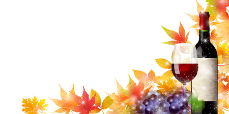 Wine grapes autumn leaves background
