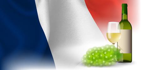 ワイン フランス国旗背景