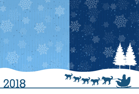 Dog New Year's cards snow background
