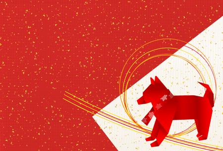 犬年賀状日本の背景を紙します。
