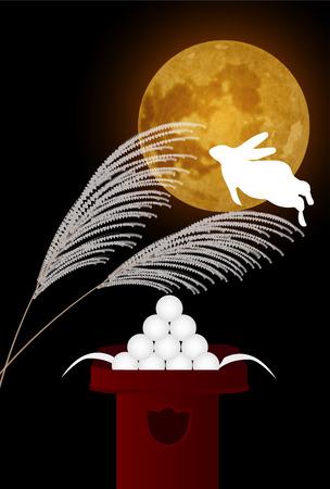 Moon rabbit full moon background Illustration