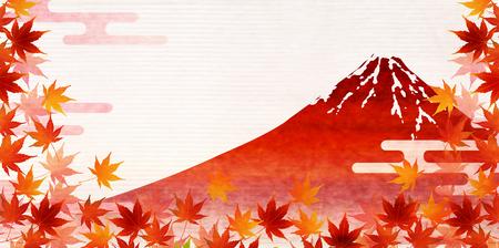 Fuji mountain maple autumn background Illusztráció
