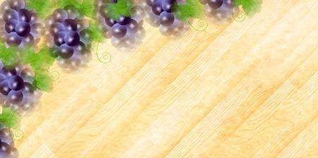 포도 과일 나뭇결 배경 디자인 일러스트 레이션