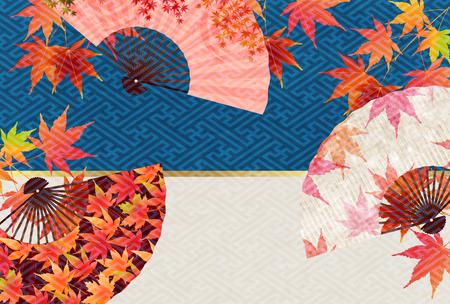 Autumn leaves fall Japanese paper background design illustration Illustration