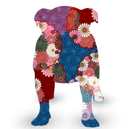 Perro Tarjeta de Año Nuevo Icono de papel japonés
