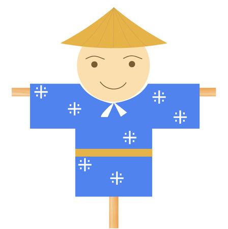 Scarecrow face cute icon vector illustration. Illusztráció