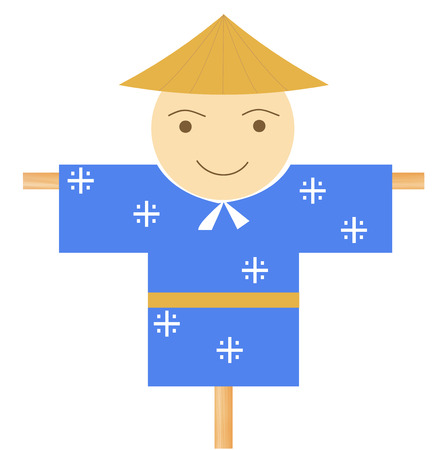 Scarecrow face cute icon vector illustration. Illustration