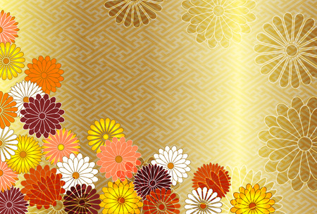 Chrysanthemum flower New Years cards Japanese paper background
