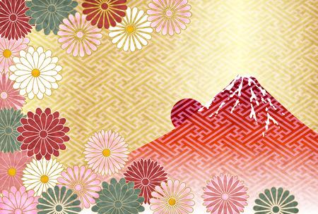 Fuji New Years cards Chrysanthemum background Illusztráció