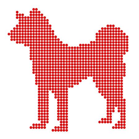 akita: Dog New Years card, silhouette icon Illustration