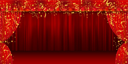 Christmas curtain stage background Vectores