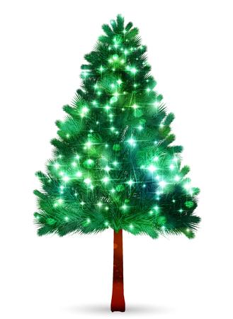 Weihnachtstannenbaum-Winter-Ikonenvektorillustration.