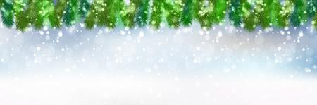 クリスマス雪モミの木バック グラウンド  イラスト・ベクター素材