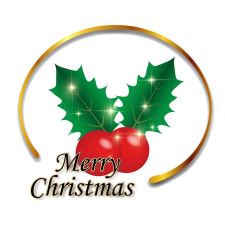 Christmas holly frame icon