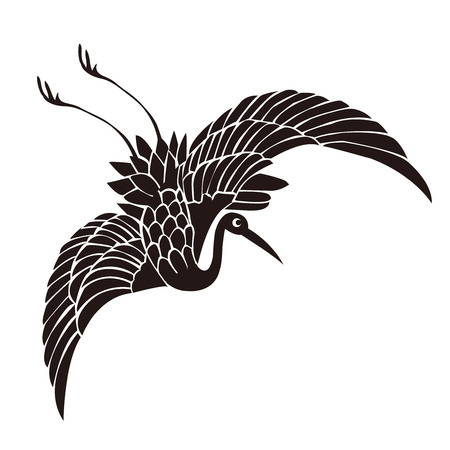 Crane Silhouette New Year card icon