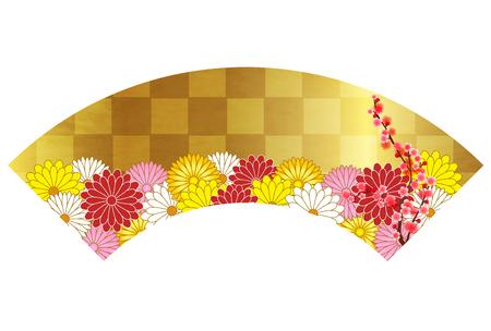 Chrysanthemum flower plum blossoms fan icon