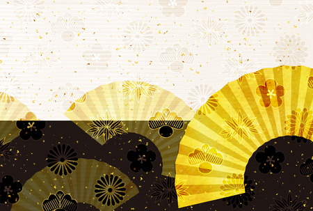 Fan postcard gold background Illusztráció