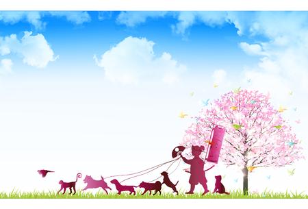 Dog New Year cards cherry background Çizim