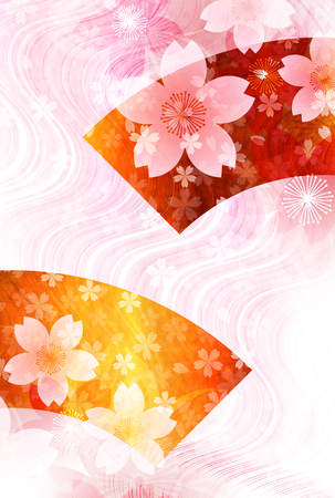 Cherry blossoms New Years cards Japanese paper background
