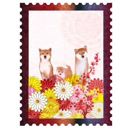 Dog New years card Chrysanthemum flower icon Illustration