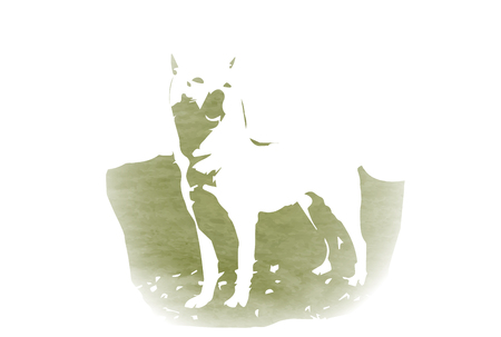 Dog New Years card silhouette icon