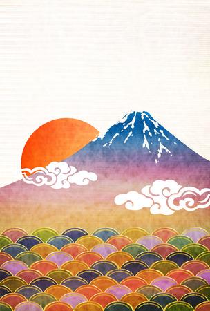 Tarjetas de año nuevo Fondo de papel japonés
