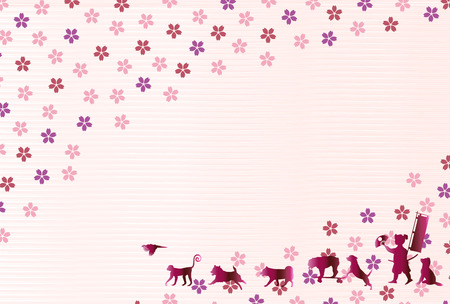 New Year card background with dogs