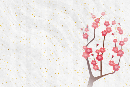 Plum blossoms New Year card background spring background Illustration