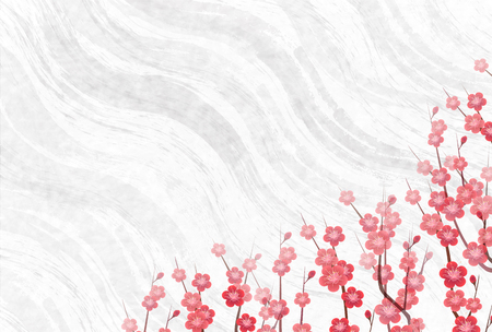Plum blossoms New Year card background spring background 일러스트
