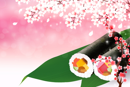 Sushi cherry blossom background