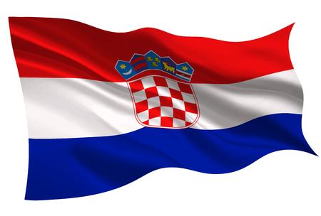 白い背景にクロアチア国旗アイコンのイラスト。