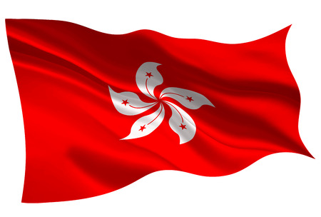 Hong Kong national flag icon illustration on white background.