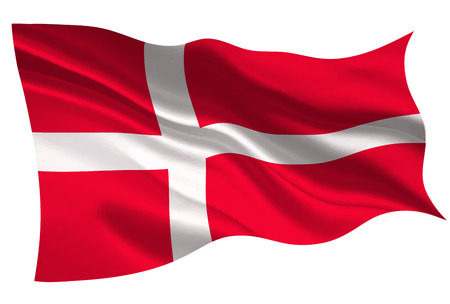 Denmark national flag icon illustration on white background.
