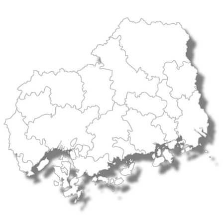 Hiroshima prefecture Map white icon