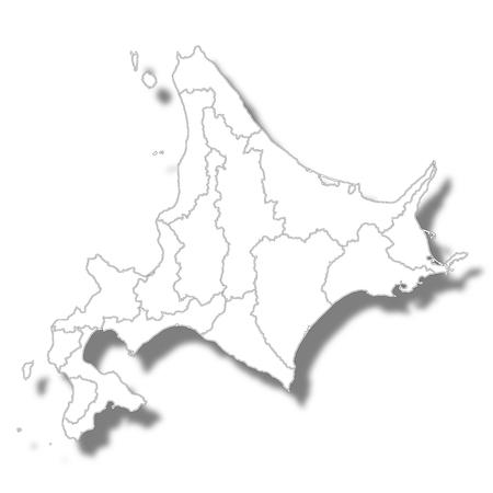홋카이도지도 백색 아이콘 일러스트