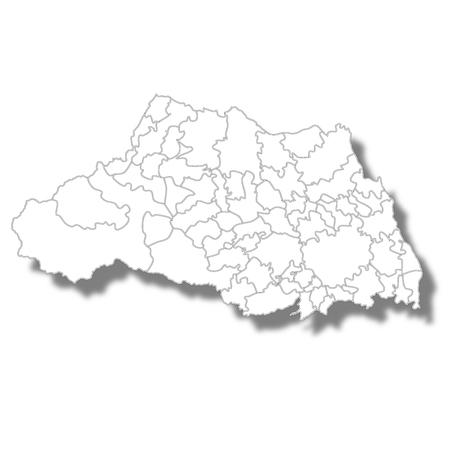 Saitama Prefecture Map White Icon Vectores