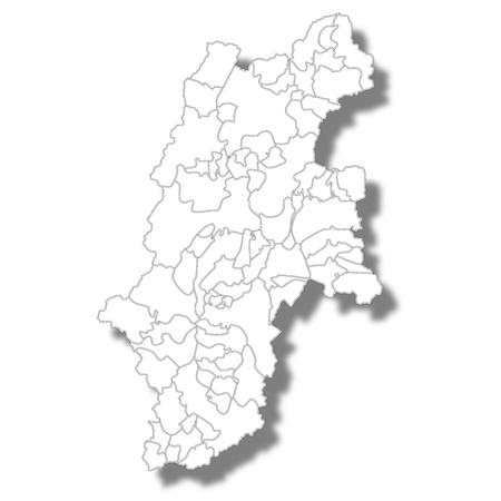 carte de la préfecture de nagano icône blanche Vecteurs