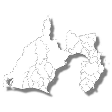Shizuoka Prefecture Map White Icon. Illustration