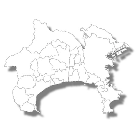 가나가와 현지도 백색 아이콘 일러스트