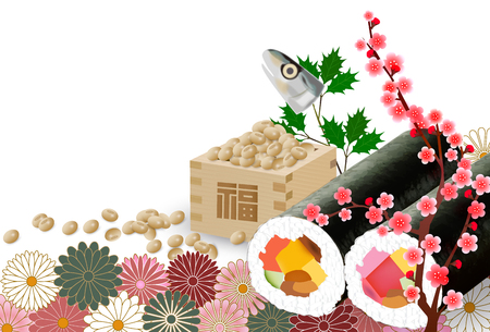 Setsubun bean flower background. Illustration