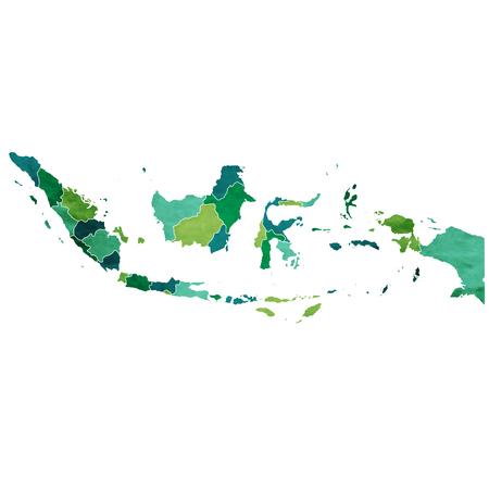 インドネシア世界地図国図。  イラスト・ベクター素材