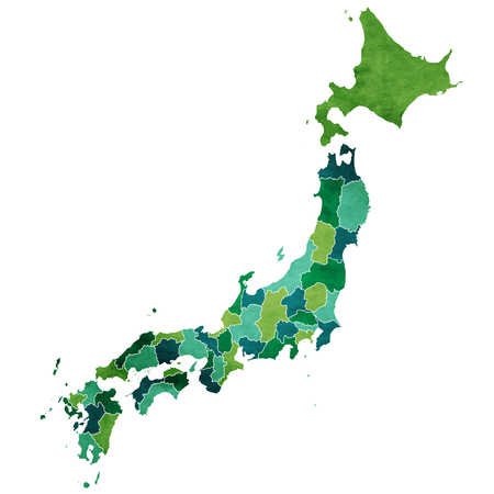 Japan World map country illustration.