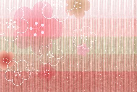 Hina Matsuri plum blossoms Japanese paper background. Stock Vector - 93938612
