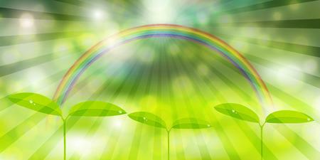 New green rainbow landscape background illustration.