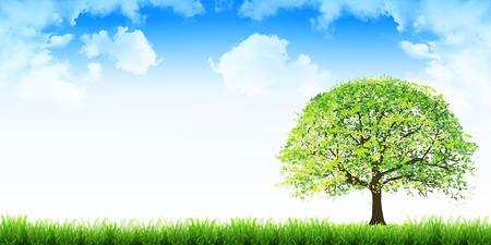 Fresh green leaves Eco background Illustration