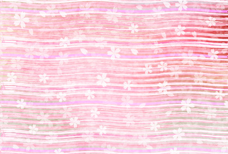 Spring pink Japanese paper background with curved lines and flower design