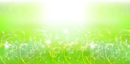 Fresh green grassland scenery background Illustration