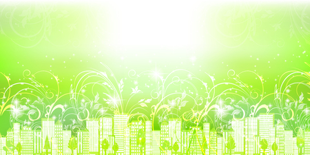 Fresh green building scenery background