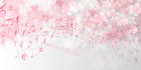 Cherry Blossoms spring note background Vector illustration.