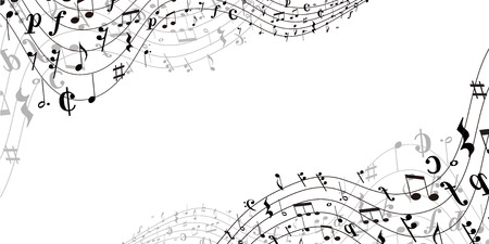 Musical note music silhouette on white background.